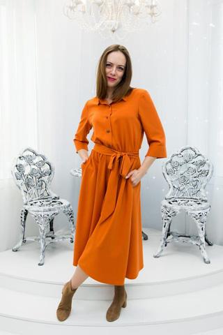 Платье из легкой костюмной ткани, верх рубашечного кроя, юбка полусолнце