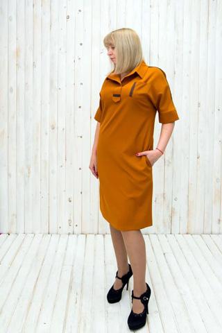Платье прямого силуэта из плательной ткани оранжевого цвета