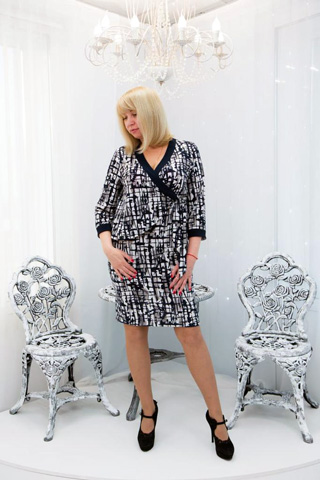 Эффектное платье из трикотажной ткани