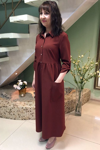 Платье-рубашка отрезное по завышенной линии талии