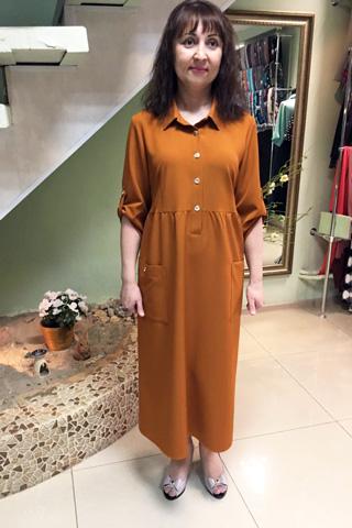 Платье длинное с рубашечным воротником