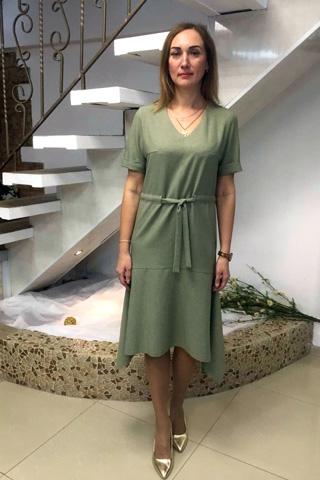 Легкое платье из тонкой костюмной ткани с фактурой льна