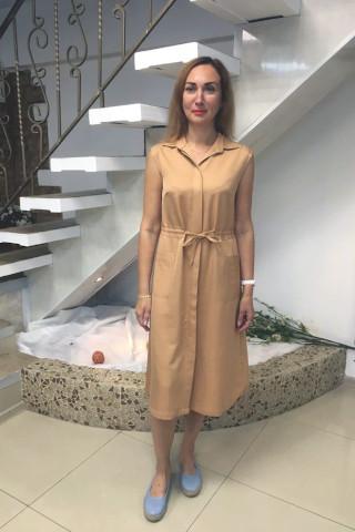 Платье-рубашка из хлопчатобумажного сатина