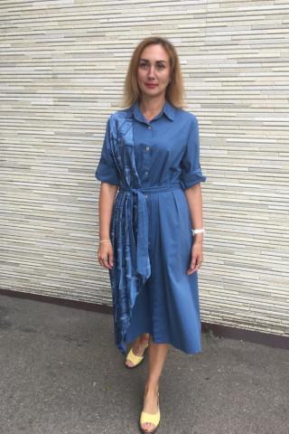 Платье-рубашка из хлопчатобумажной ткани