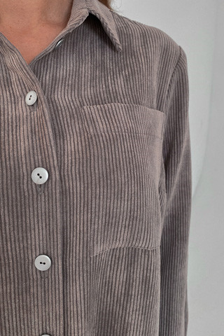 Рубашка вельветовая удлинённая, карман