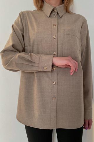Рубашка из легкой костюмной ткани, рукав